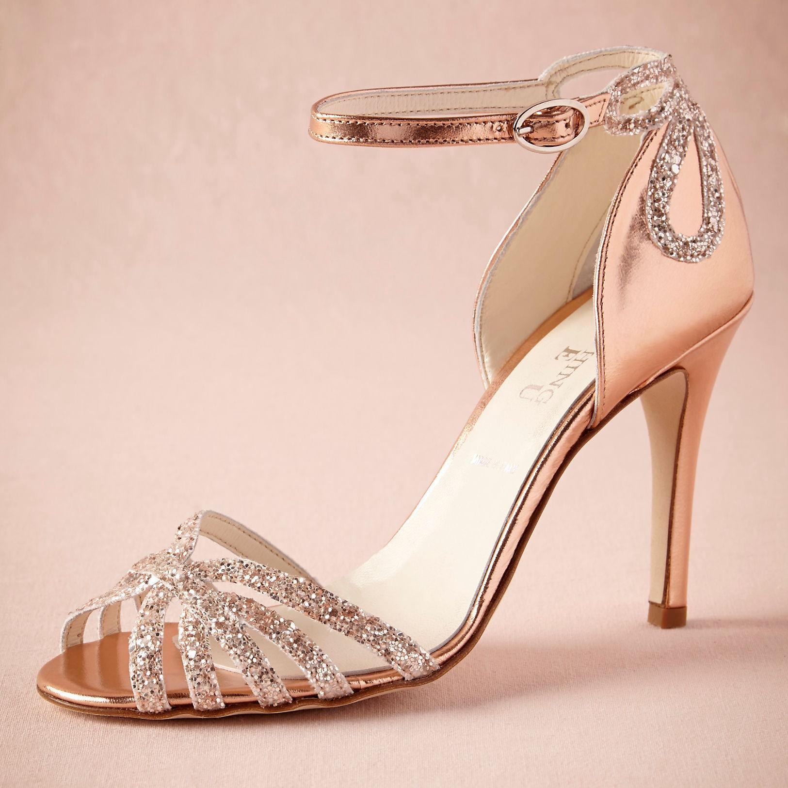Rose gold glittered heel real wedding shoes pumps sandals gold leather buckle closure glitter party dance high wrapped heels women sandals