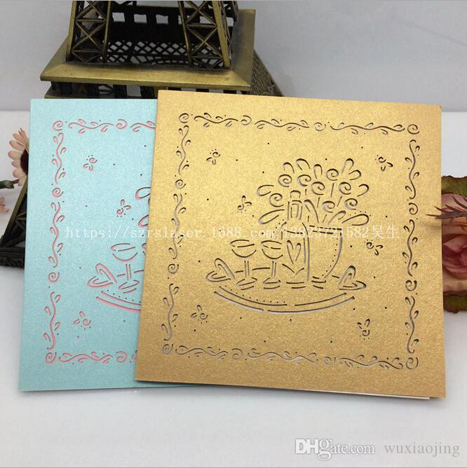 Laser Cut Colorful Pearl Paper Greeting Cards Set Wedding Invitation