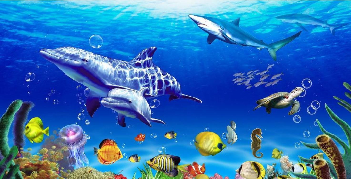 Living 3d Dolphins Animated Wallpaper Windows 7 Custom Large Murals Fabric Wallpaper 3d Wall Paper Sitting