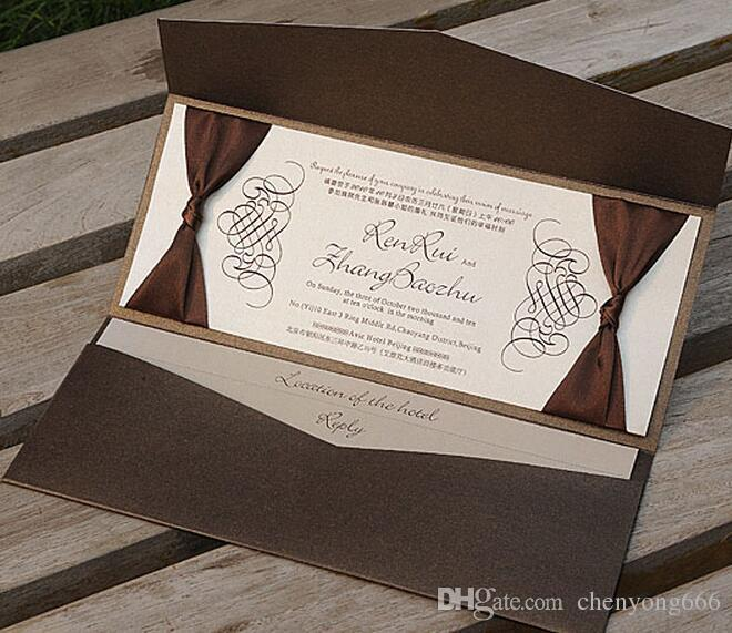 Brown Pocket Wedding Invitations Free Personalized Printing With