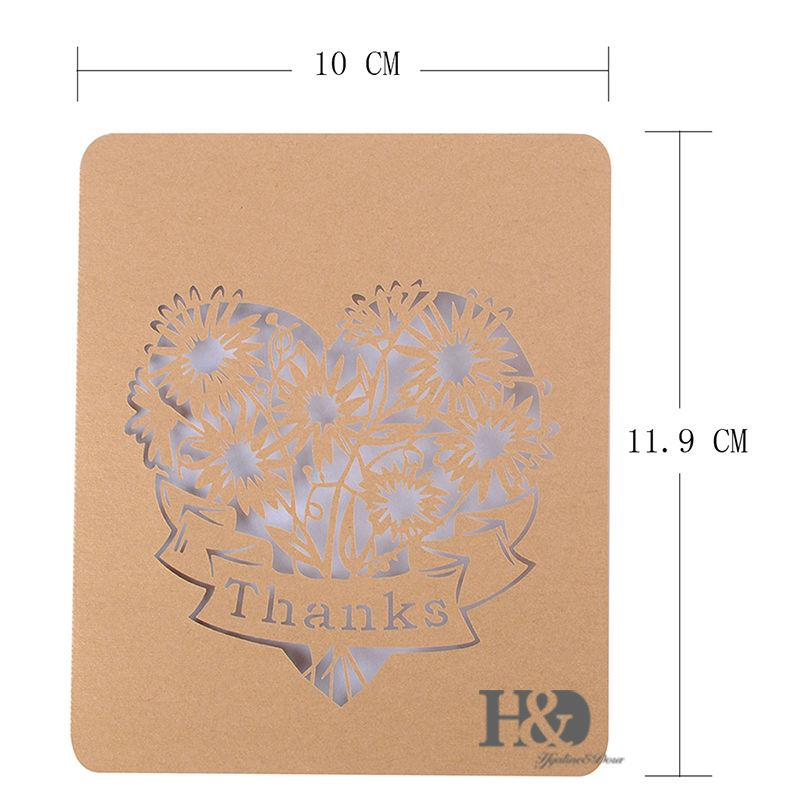 Cut Out Heart Thank You Cards Folded Note Card Greeting Card Wedding - online note cards