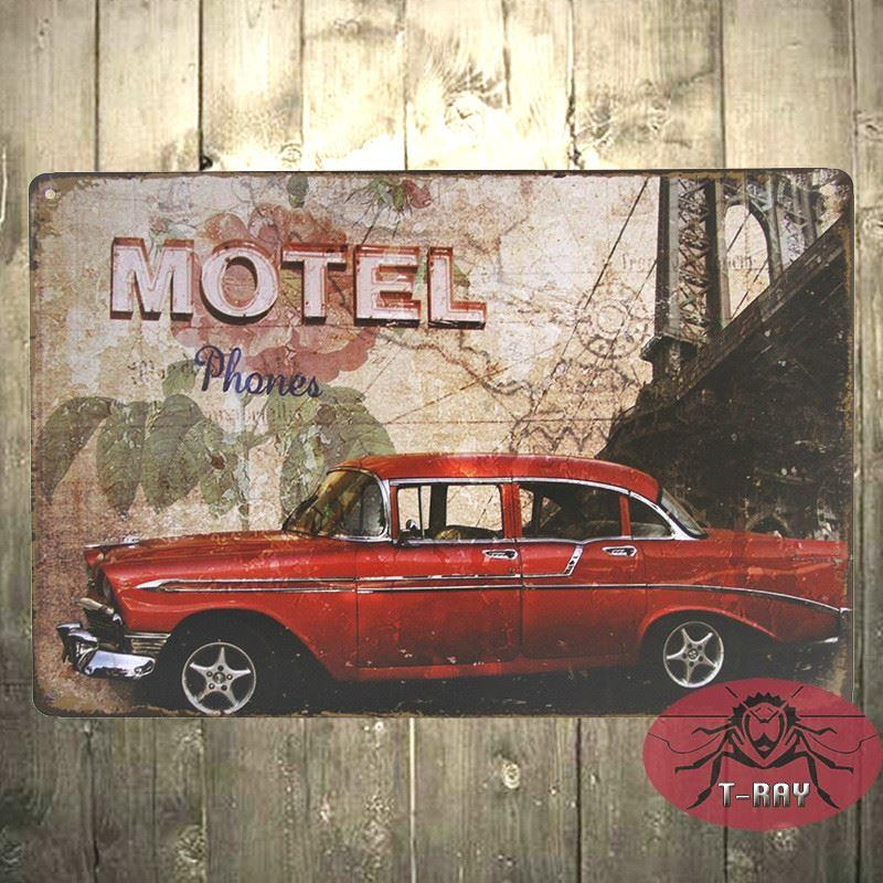 Red Gas Retro/Vintage Metal Plaque/Sign/Print/Poster Wall Art/Decor - print for sale sign for car