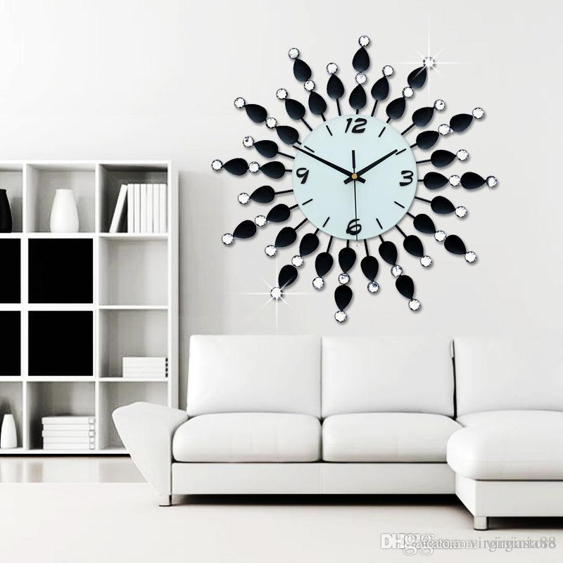 Luxury Diamonds Watch Long Living Room Clock Modern Fashion Wall - living room clock