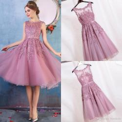 Tempting 2017 Cheap New Crew Neck Lace A Line Knee Length Homecoming Dresses Organzaapplique Beaded Short Cocktail Party Dress Evening Gowns 2017 Cheap New Crew Neck Lace A Line Knee Length Homecoming