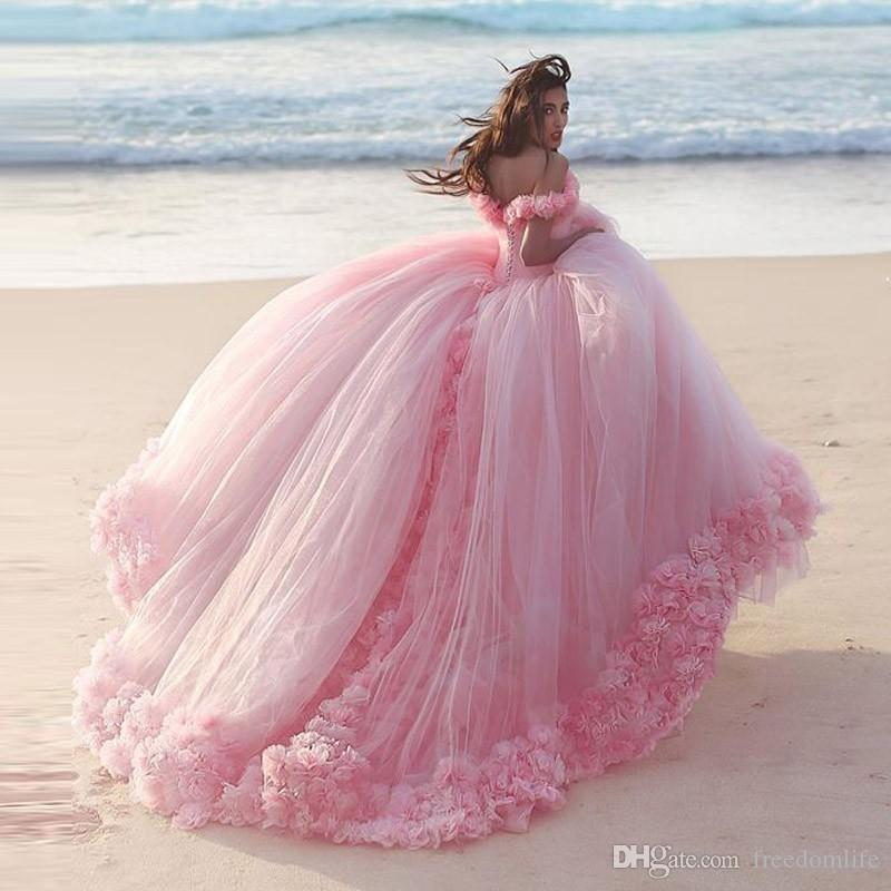 Romantic Pink Wedding Dresses Princess Ball Gowns 3d Floral - pink wedding photo