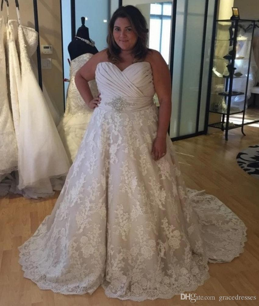 d7378f0d07 Plus Size Wedding Dress Ball Gown Ruched Sweetheart Empire