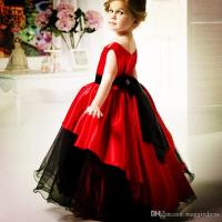 2016 Red And Black Flower Girls' Dresses Scoop Waistband ...
