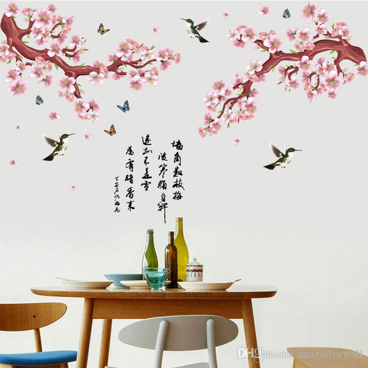Baby Girl Nursery Removable Wallpaper Pink Peach Flowers Tree Branch Flying Birds Butterfly