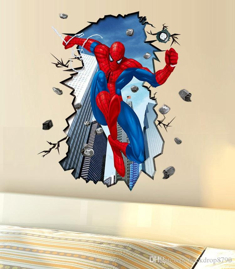 Cool Wall Decals Large Spider Man 3d Crack Wall Sticker Living - large wall decals for living room