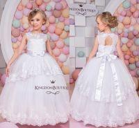 New Pretty White Flower Girls Dresses 2017 Sheer Neck ...