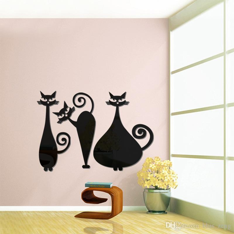 3d Three Cute Cat Arcylic Mirror Wall Stickers Diy Art Decal - large wall decals for living room