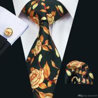 2018 Stylish Silk Necktie With Hanky Cufflinks Men'S Black ...