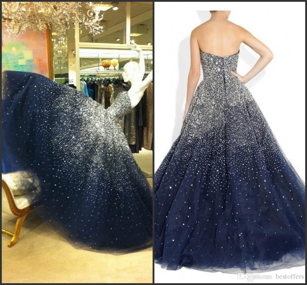 Navy Blue Puffy Quinceanera Dresses Ball Gowns 2016