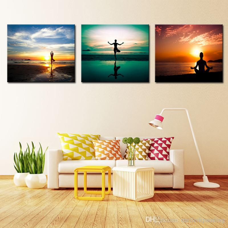2017 Wall Art A Personu0027S Yoga Exercise Sunset Seascape Picture - living room canvas art