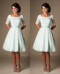 Vintage Mint Lace Knee Length Short Modest Bridesmaid ...