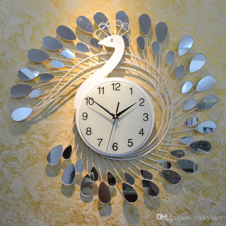 Fashion Peacock Design Silent Wall Clock Creative Craft Clocks For - living room clock