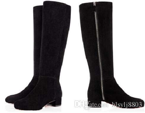 Simple Black Suede Long Boots Red Bottom Women Winter Boot