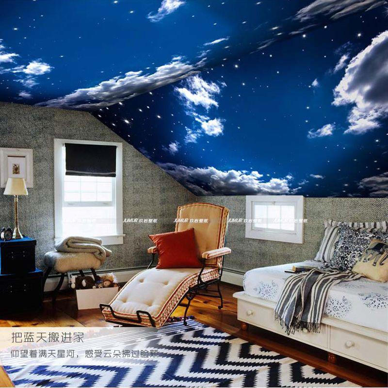 Modern 3D Wallpaper Blue Sky \ White Clouds Photo Wallpaper - 3d wallpaper for living room