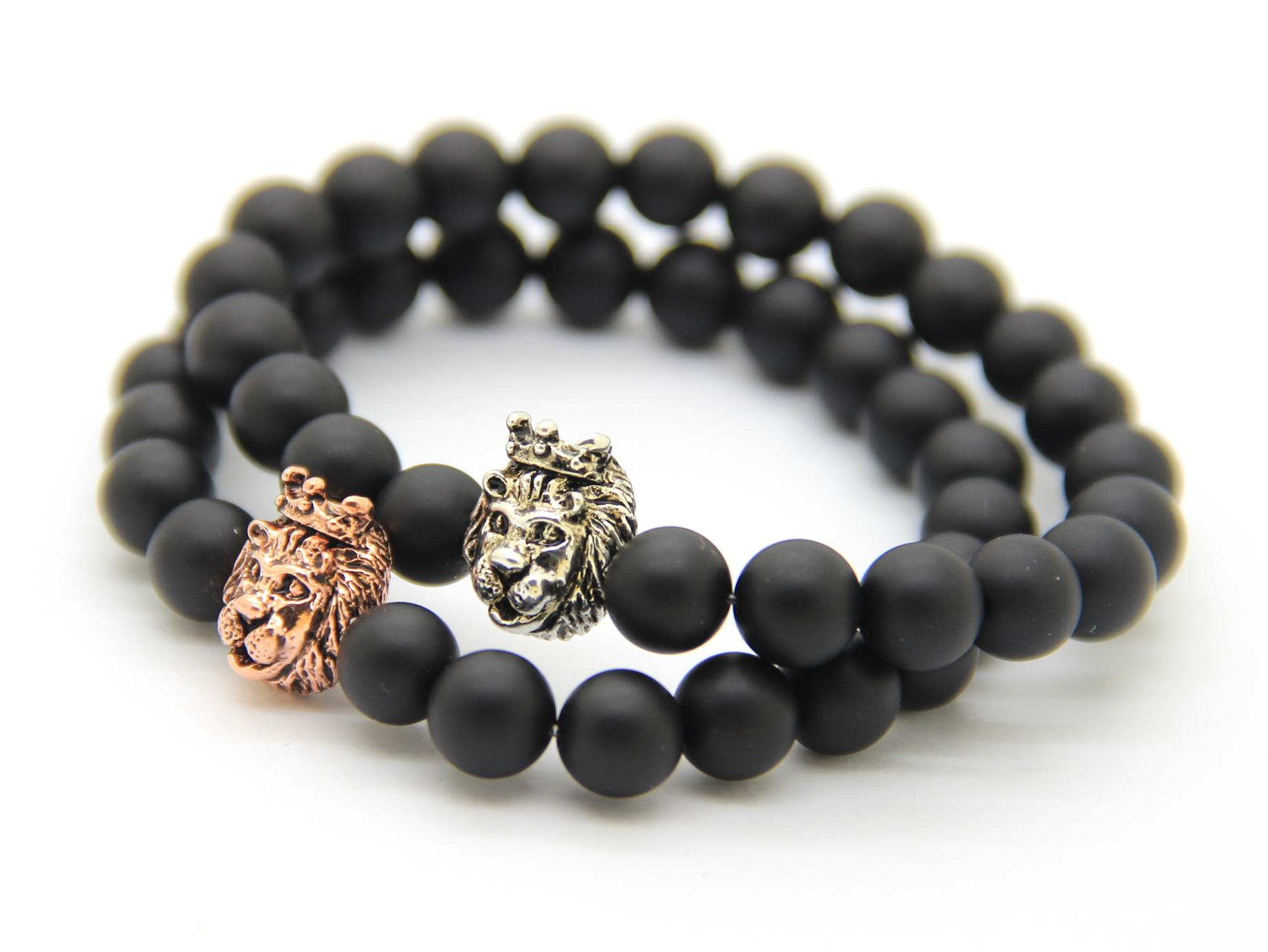 Men39s Bead Bracelet Beaded Onyx Bracelet Lion Head Charm