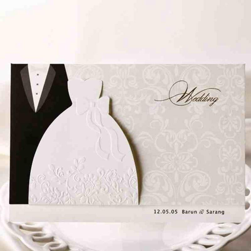 Bride And Groom Laser Cut Marriage Wedding Invitation Card Greeting