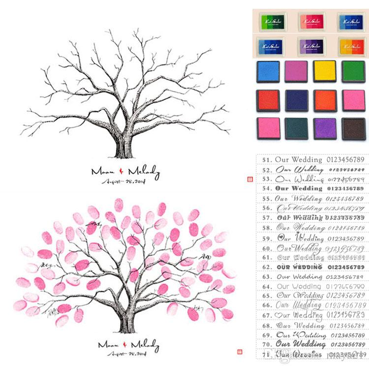 Thumbprint Family Tree Sign in Wedding Thumbprint Guest Book - guest book template