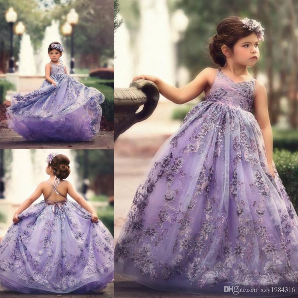 Pretty Lavender Flower Girl Dresses V Neck Lace Appliques
