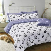 Black And White Bedding Set Panda 100% Cotton Bed Sheet ...