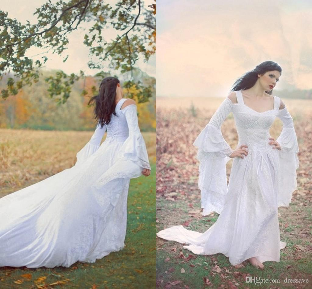 Natural Discount 2018 Fantasy Fairy Medieval Custom Wedding Gowns Lace Up Offshoulder Bell Long Sleeves A Line Court Train Chiffon Lace Bridaldress Wedding Discount 2018 Fantasy Fairy Medieval Custom wedding dress Custom Wedding Dress