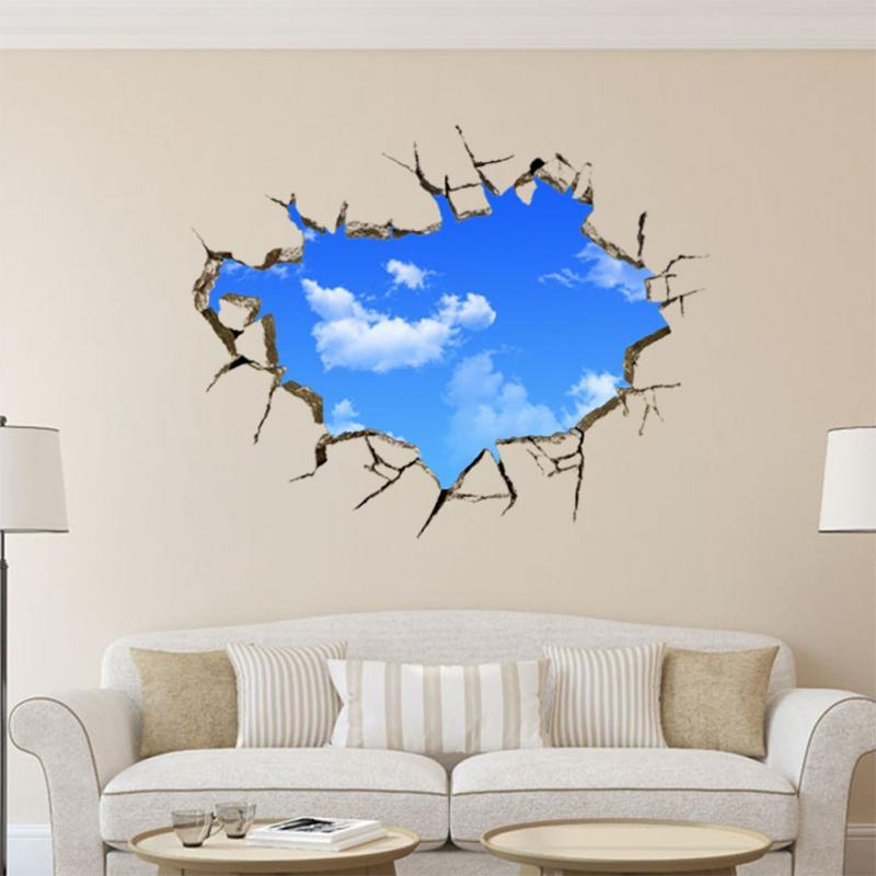 2016 Hot Sale New Art Creative Sticker Sky Clouds Holes Removable - large wall decals for living room