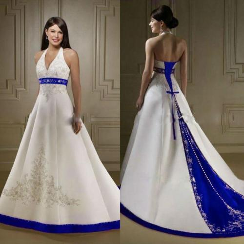 Especial Size Colorful Wedding Recept Wear Aline Gown Discount Modest Ivory Royal Blue Wedding Dresses 2016 New Halterembroidery Bridal Gowns Backless Discount Modest Ivory Royal Blue Wedding Dresses