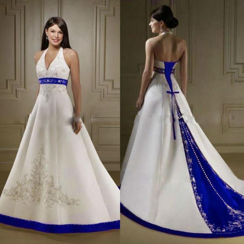Large Of Blue And White Wedding Dress