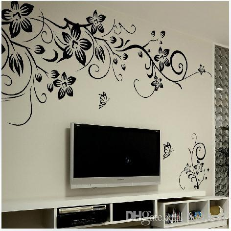 027s 80*100cm Black Flower Vine Wall Stickers Home Decor Large - large wall decals for living room