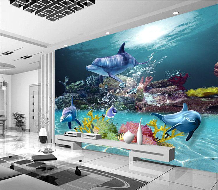 Custom 3d Wallpaper Underwater World Photo Wallpaper Ocean Wall - 3d wallpaper for living room