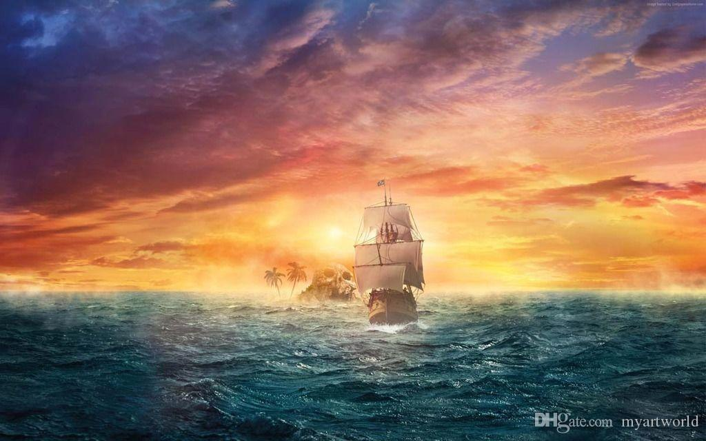 2019 Framed Pirate Ship Ocean Sun HD Art Canvas Prints Oil Painting