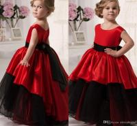 2016 Red And Black Flower Girls' Dresses Scoop Waistband