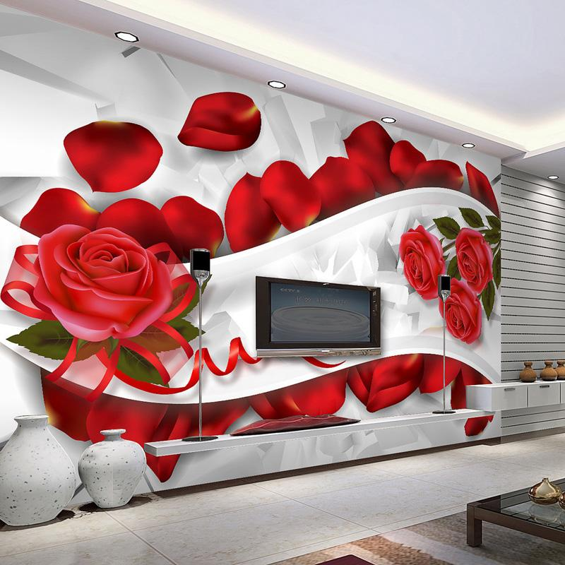Romantic 3d Wallpaper Wall Mural Red Rose Photo Wallpaper Bedroom - 3d wallpaper for living room