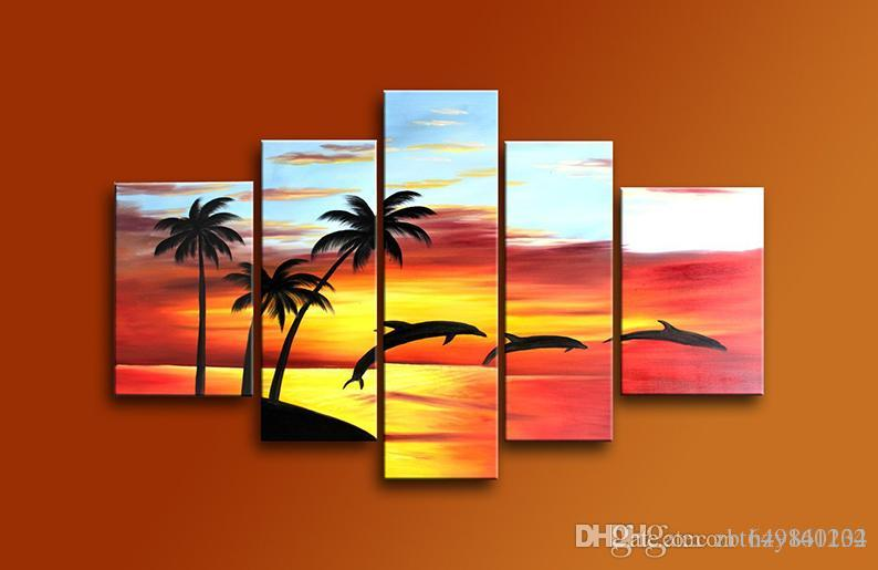 Fashion Canvas Painting Beautiful Sea View Pictures Hand-painted - living room canvas art