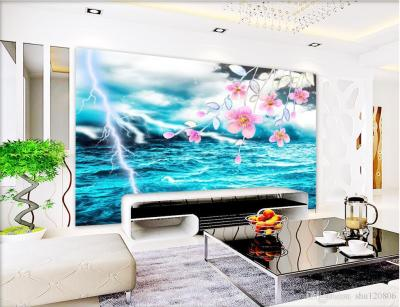3d Room Wallpaper Custom Photo Mural Cool Lightning Green Sea View Background W Wall Painting ...