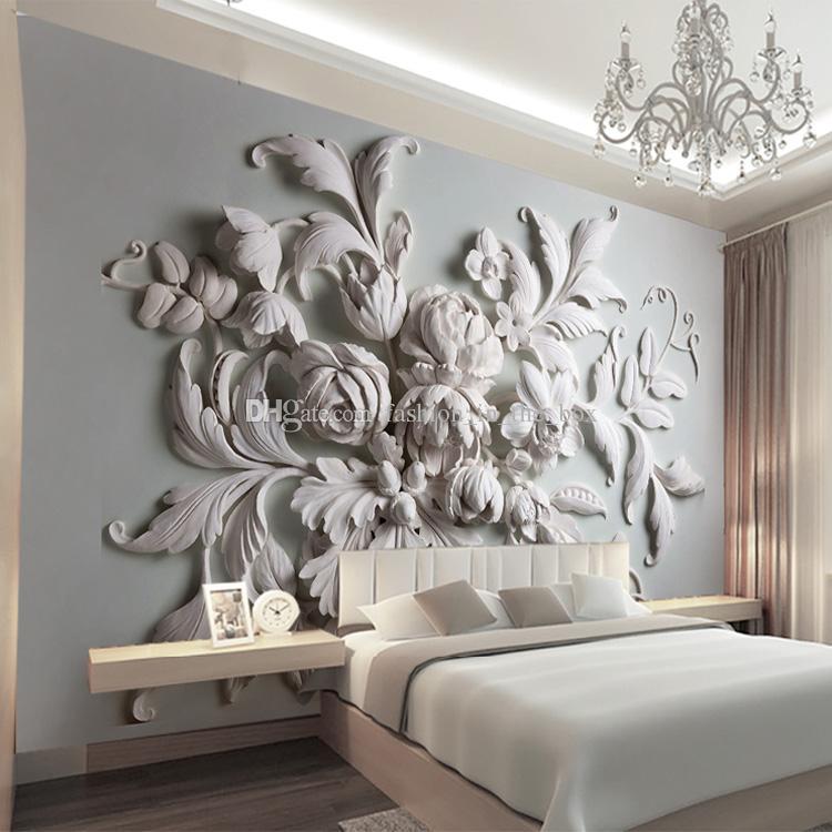 Custom Photo Wallpaper 3D European Embossed Flowers
