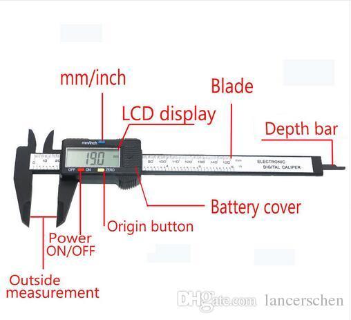 2019 Hot Sale 150mm 6inch LCD Digital Electronic Carbon Fiber