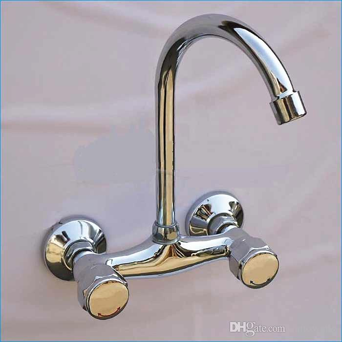 Dual Holder Wall Mount Kitchen Faucet,kitchen Brass Mixer Tap,hot - wall mount kitchen faucet