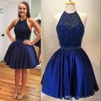 Navy Blue Short Homecoming Dresses 2017 Halter Cheap Bead ...