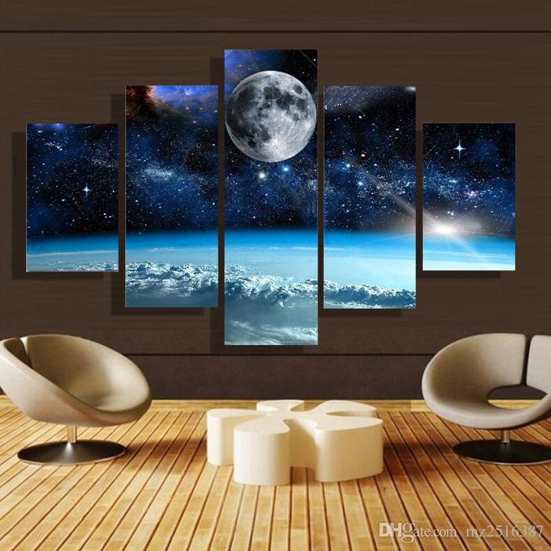 2017 5 Panel Forest Painting Canvas Wall Art Picture Home - living room canvas art