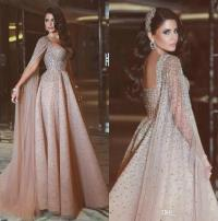 Elegant Arabic Evening Dresses Rhinestone Champagne Formal ...