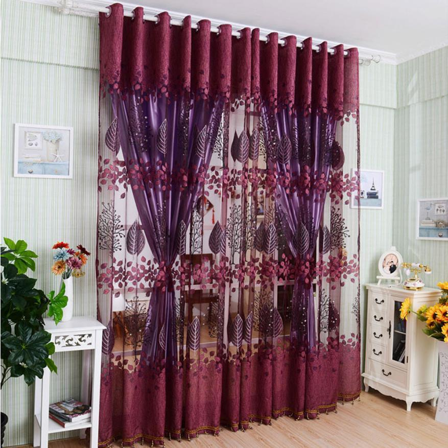 Luxury Curtains For Living Room Modern Room Leaf Floral Tulle - luxury curtains for living room