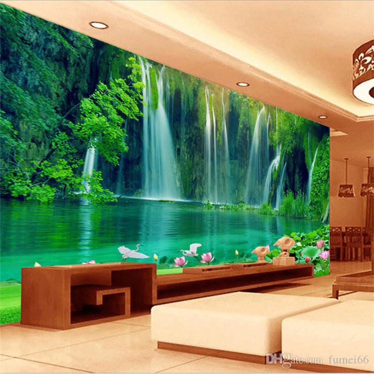 Cool 3d Wallpapers For Walls Seamless Large Scale Mural 3d Stereo Landscape Tv Living