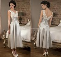 Silver Gray Mother Of The Bride Dresses V Neck Lace ...