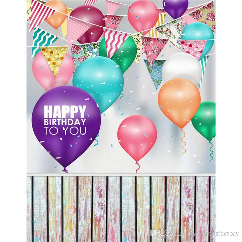 ful Balloons Flags Kids Birthday Party Backdrops Wood Floor