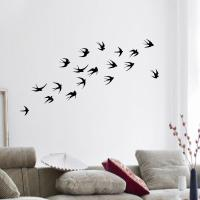 Birds Silhouette Flying Swallows Vinyl Wall Stickers Home ...