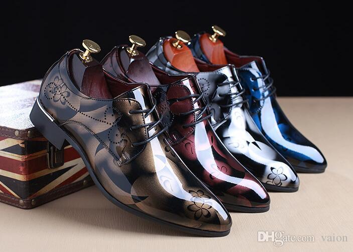 British Men39s Glitter Print Flats Party Shoes Men Leather